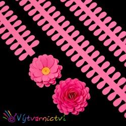 Tmavě růžové proužky na lístečkové kytičky