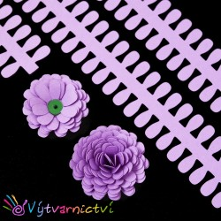 Světle fialové proužky na lístečkové kytičky