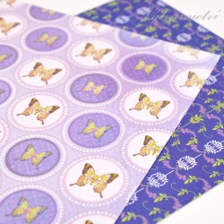 Fialoví motýlci - ozdobný papír