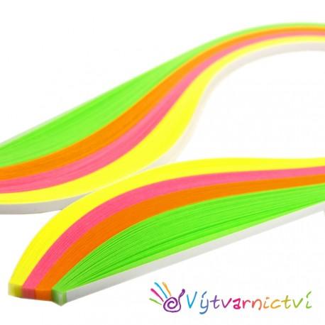 Sada 4 mm: Neonové papírové proužky na quilling