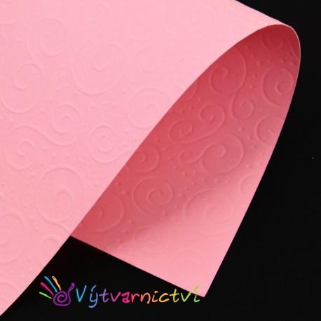 Růžové spirálky – embosovaný papír